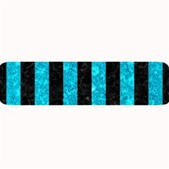 Stripes1 Black Marble & Turquoise Marble Large Bar Mat by trendistuff