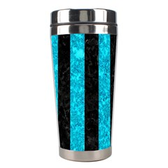 Stripes1 Black Marble & Turquoise Marble Stainless Steel Travel Tumbler by trendistuff