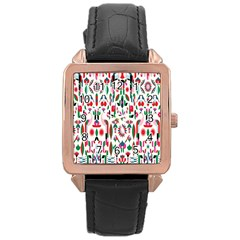 Peacock Flower Rose Gold Leather Watch