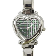 Pink And Green Tiles On Dark Green Heart Italian Charm Watch