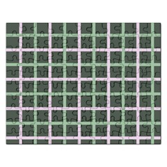Pink And Green Tiles On Dark Green Rectangular Jigsaw Puzzl by Jojostore