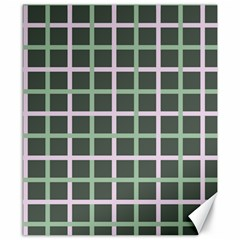 Pink And Green Tiles On Dark Green Canvas 8  X 10