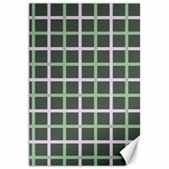 Pink And Green Tiles On Dark Green Canvas 12  X 18