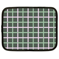 Pink And Green Tiles On Dark Green Netbook Case (large)