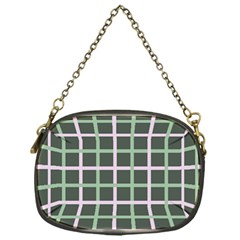 Pink And Green Tiles On Dark Green Chain Purses (one Side)  by Jojostore
