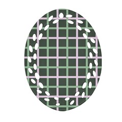 Pink And Green Tiles On Dark Green Ornament (oval Filigree)