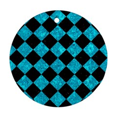 Square2 Black Marble & Turquoise Marble Round Ornament (two Sides) by trendistuff