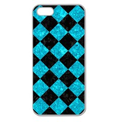 Square2 Black Marble & Turquoise Marble Apple Seamless Iphone 5 Case (clear) by trendistuff