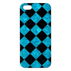 Square2 Black Marble & Turquoise Marble Apple Iphone 5 Premium Hardshell Case by trendistuff
