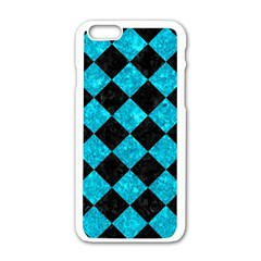 Square2 Black Marble & Turquoise Marble Apple Iphone 6/6s White Enamel Case by trendistuff