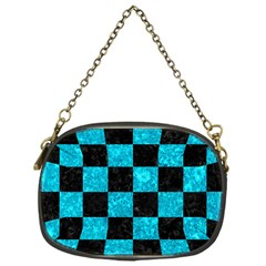 Square1 Black Marble & Turquoise Marble Chain Purse (one Side) by trendistuff