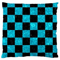 Square1 Black Marble & Turquoise Marble Large Cushion Case (one Side) by trendistuff