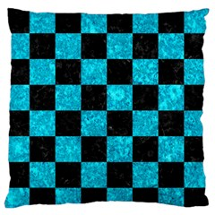 Square1 Black Marble & Turquoise Marble Large Flano Cushion Case (one Side) by trendistuff