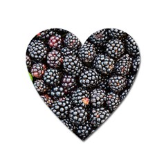 Blackberries Background Black Dark Heart Magnet by Amaryn4rt