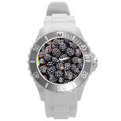 Blackberries Background Black Dark Round Plastic Sport Watch (l)