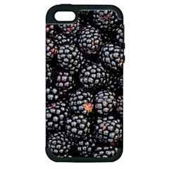 Blackberries Background Black Dark Apple Iphone 5 Hardshell Case (pc+silicone) by Amaryn4rt