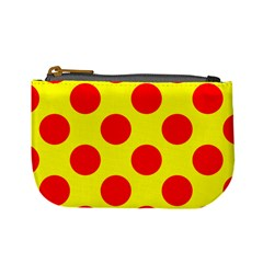 Red Circle Yellow Mini Coin Purses by Jojostore