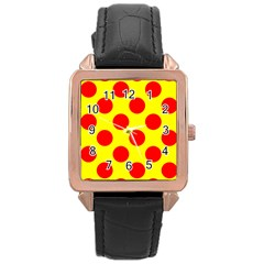 Red Circle Yellow Rose Gold Leather Watch  by Jojostore