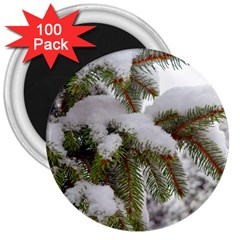 Brad Snow Winter White Green 3  Magnets (100 Pack)