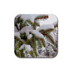 Brad Snow Winter White Green Rubber Coaster (square)  by Amaryn4rt