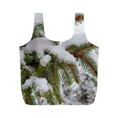 Brad Snow Winter White Green Full Print Recycle Bags (m)  by Amaryn4rt