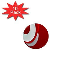 Red White 1  Mini Buttons (10 Pack)