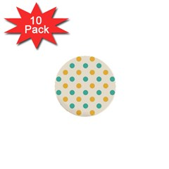 Round Blue Yellow 1  Mini Buttons (10 Pack)