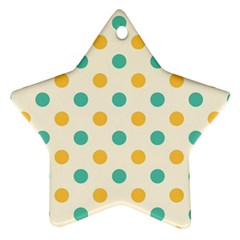 Round Blue Yellow Star Ornament (two Sides)  by Jojostore