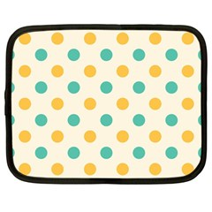 Round Blue Yellow Netbook Case (large)