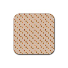 Christmas Wrapping Paper Rubber Square Coaster (4 Pack)  by Amaryn4rt