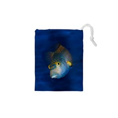 Fish Blue Animal Water Nature Drawstring Pouches (xs)
