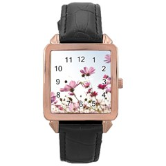 Flowers Plants Korea Nature Rose Gold Leather Watch  by Amaryn4rt