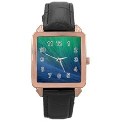 Sea Wave Water Blue Rose Gold Leather Watch