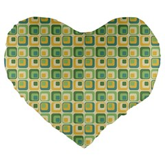 Square Green Yellow Large 19  Premium Heart Shape Cushions