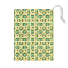 Square Green Yellow Drawstring Pouches (extra Large) by Jojostore
