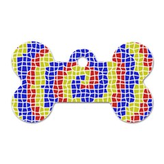 Red Blue Yellow Dog Tag Bone (one Side) by Jojostore