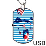 Sunbathing On The Beach Dog Tag USB Flash (Two Sides)  Front