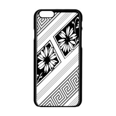 Stripe Seamless Flower Apple Iphone 6/6s Black Enamel Case