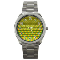 Tile Of Yellow And Green Sport Metal Watch by Jojostore