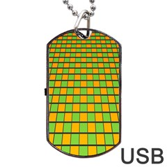 Tile Of Yellow And Green Dog Tag Usb Flash (two Sides)  by Jojostore