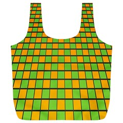 Tile Of Yellow And Green Full Print Recycle Bags (l)  by Jojostore