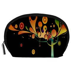 Tree Circle Orange Black Accessory Pouches (large)