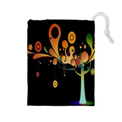 Tree Circle Orange Black Drawstring Pouches (large)  by Jojostore
