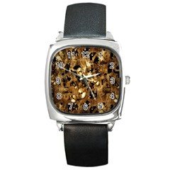 Steampunk Grunge Gold Cogs Square Metal Watch by Jojostore
