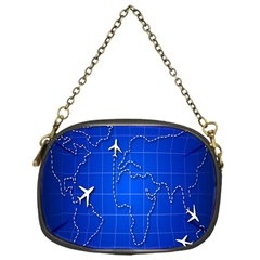 Unique Air Travel World Map Blue Sky Chain Purses (one Side)  by Jojostore