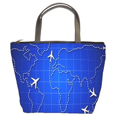 Unique Air Travel World Map Blue Sky Bucket Bags by Jojostore