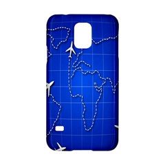 Unique Air Travel World Map Blue Sky Samsung Galaxy S5 Hardshell Case