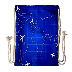 Unique Air Travel World Map Blue Sky Drawstring Bag (large) by Jojostore