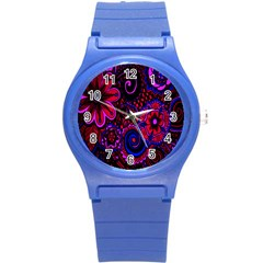 Sunset Floral Flower Red Pink Jewel Box Round Plastic Sport Watch (s) by Jojostore