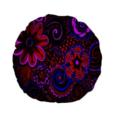 Sunset Floral Flower Red Pink Jewel Box Standard 15  Premium Flano Round Cushions by Jojostore